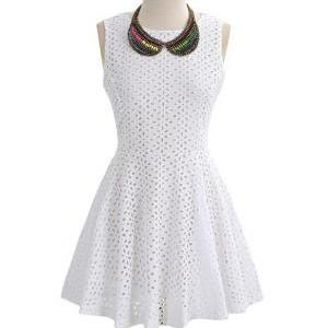 Free Shipping White Hollow Lace Rou..