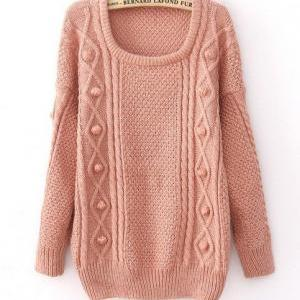 Pink Wool Loose Thicker Sweater