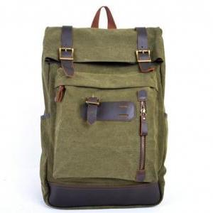 Army Green Canva Backpacks Canvas-L..