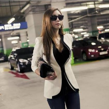 Black And White Long Sleeve Slim Bl..
