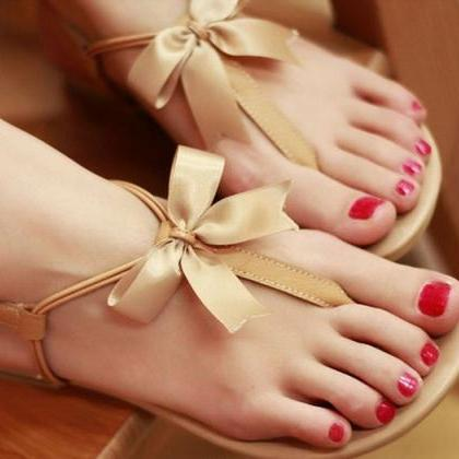 3235 Bowknot Is Flat Sandals