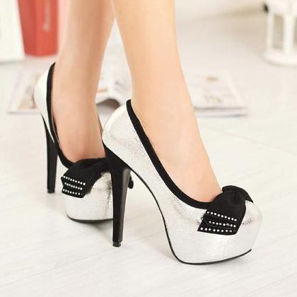 Silver Bow Knot Design High Heel Pu..