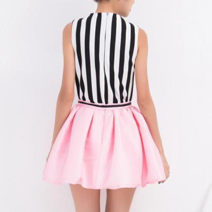 Stripes Printed Top And Skirt Set 0..