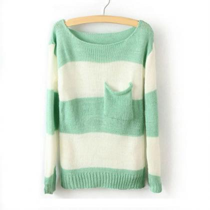 Green White Striped Long Sleeve Pul..