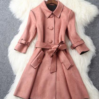 Single Breasted Long Trench Coat
