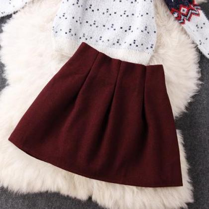 Snowflake Sweater Woolen Red Skirt ..