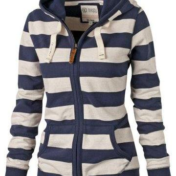 Stylish Hooded Long Sleeve Striped ..