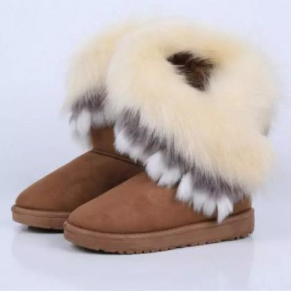 Winter Fashion Round Toe Feathers D..