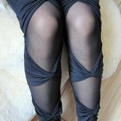 See-Through Bandages Leggings Hollo..