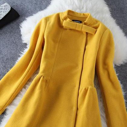 Bow Woolen Long-Sleeved Coat Gv823F..