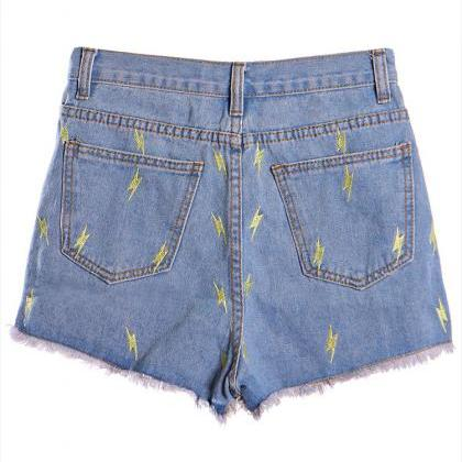 Lightning Embroidered Vintage Denim..