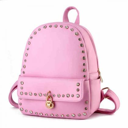 Rivet Lock Pu Travel School Backpac..