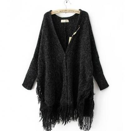 Batwing Long Sleeve V-Neck Tassel H..