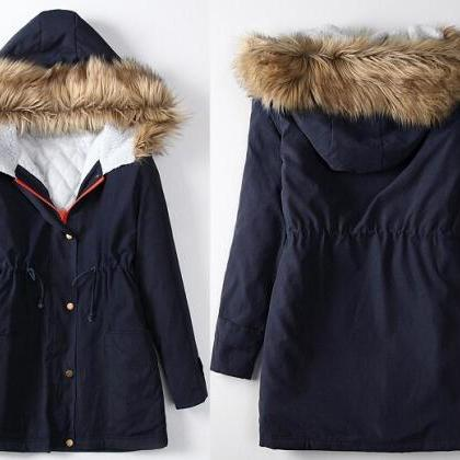 Women Winter Zip Up Parka Hooded La..