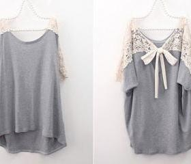Grey Loose Casual T-..