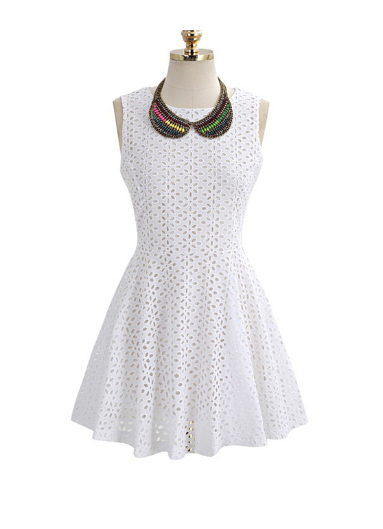 Free Shipping White Hollow Lace Round Neck Tank Dress