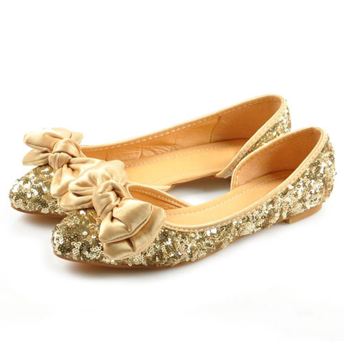 Pointed-Toe Sequined Ballerina Flats with Bow Accent
