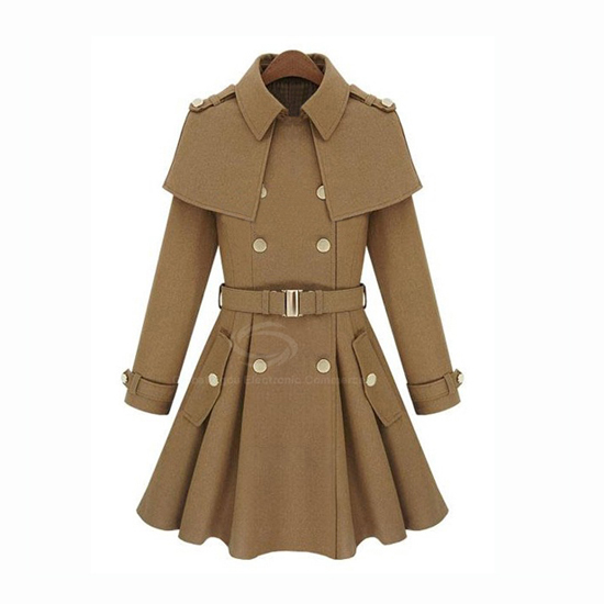 Solid Color Slimming Woolen Blend Women's Coat With Belt