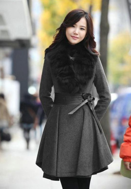 Gray Wool Linen Coat Gray Trench Wool Overcoat Gray Skirted Winter Coats