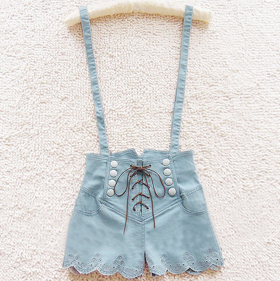 A 072402 RETRO DOUBLE-BREASTED HIGH WAIST DENIM OVERALLS