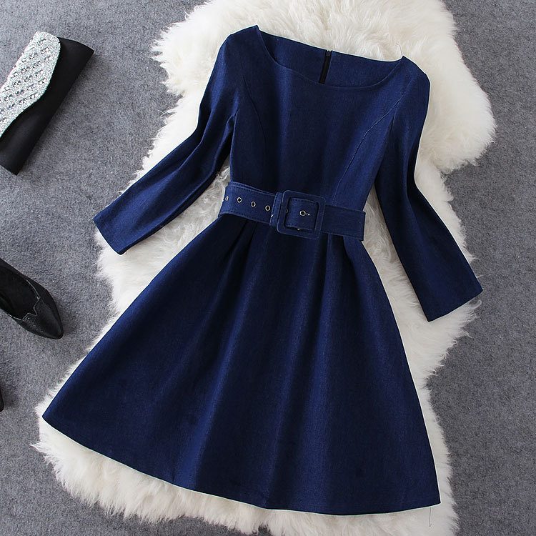Denim Dress With Belt SC728EH