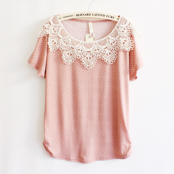 Crochet Stitching Bat Sleeve T-shirt AD813DC