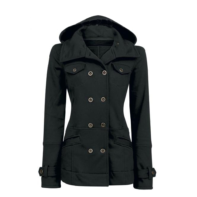 Casual Solid Color Double Breasted Cotton Slim Hoodie Coat
