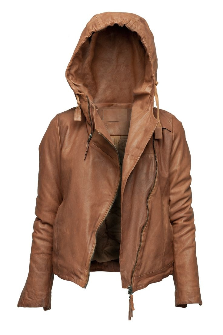 WOMENS HOODIE JACKET BROWN COLOR HOODED LEATHER JACKET on ...