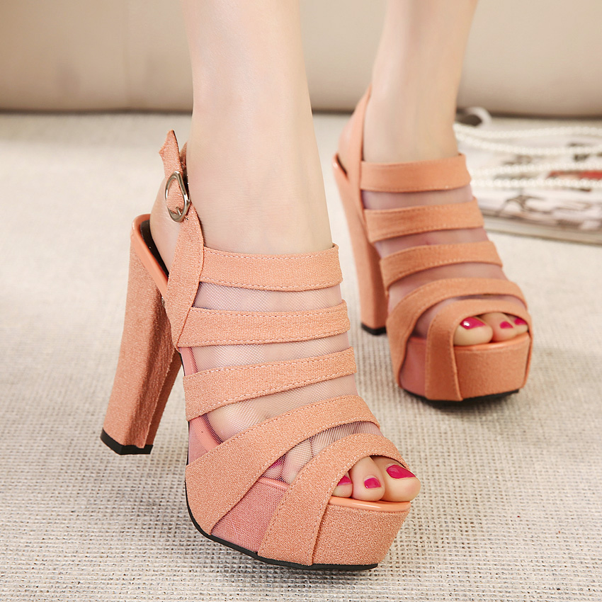 High With Coarse Temperament With Hollow Open-toed High-heeled Sandals Roman Style Fish Head