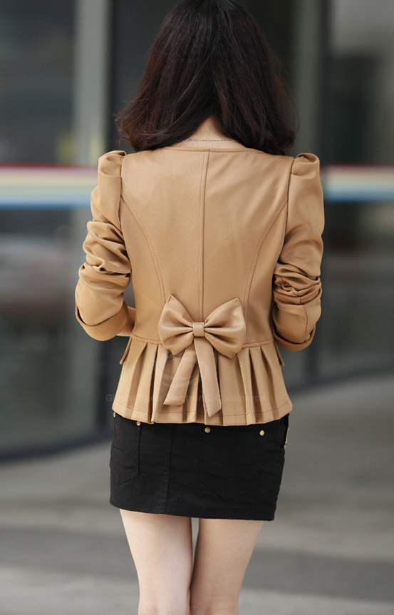 Bowknot Pleated Slimming Short Blazer