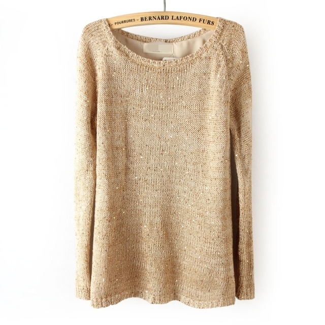 Autumn And Winter Sequined Behind Button Split Knitted Sweater ...
