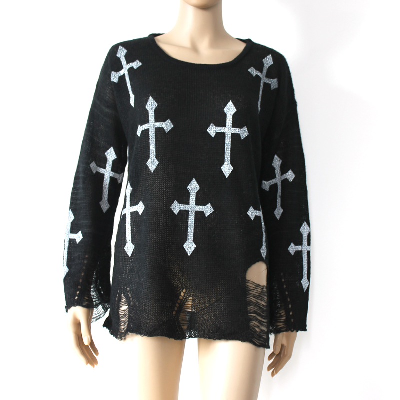 Black Harajuku Hole Ripped Torn Cross Sweater - 629984746
