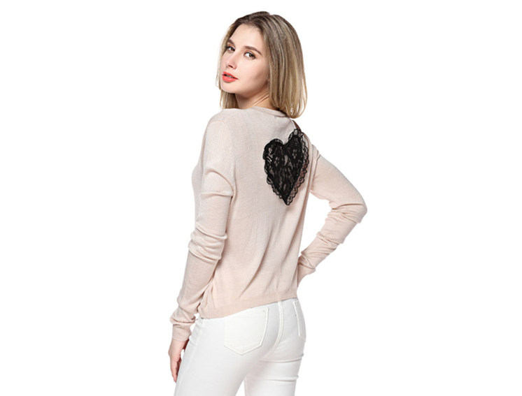 Women's Round Neck Beige Sweater With Heart Pattern Back S100738