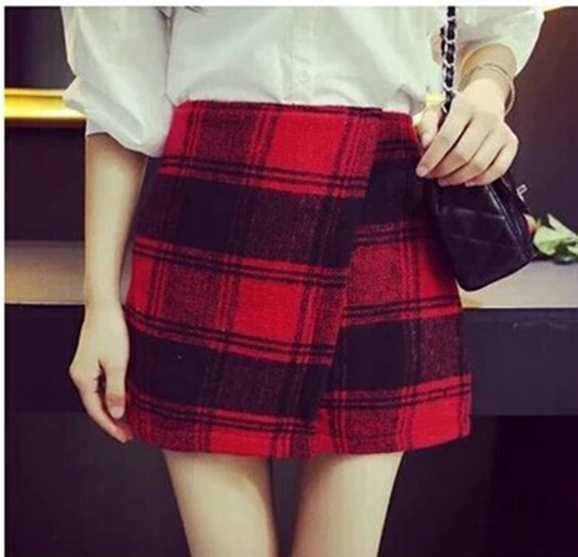Fashion Tall Waist Tartan Skirts 6715093