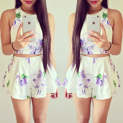 Sweet Floral Print Tops + Shorts Two-Piece Set
