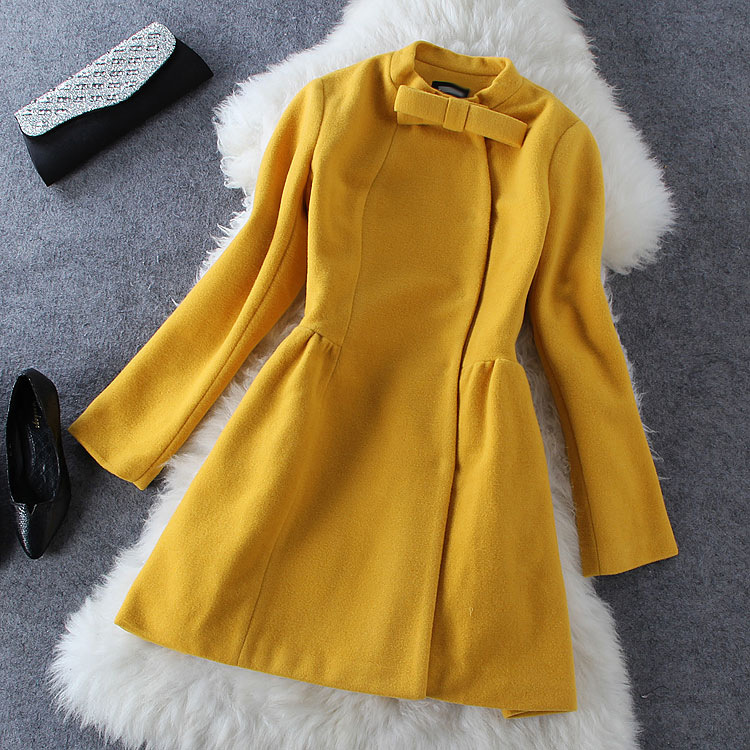 Bow Woolen Long-Sleeved Coat Gv823Ff