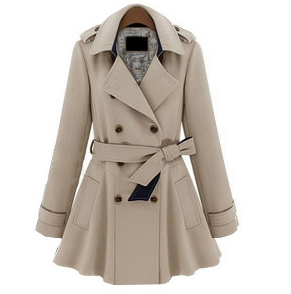 Plus Coats Women Jackets Slim Blue Beige Fashion Coat S M L Xl on ...