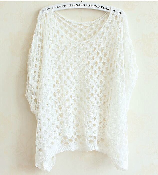 Hollow Bat Sleeve Sweater Wq724Bc