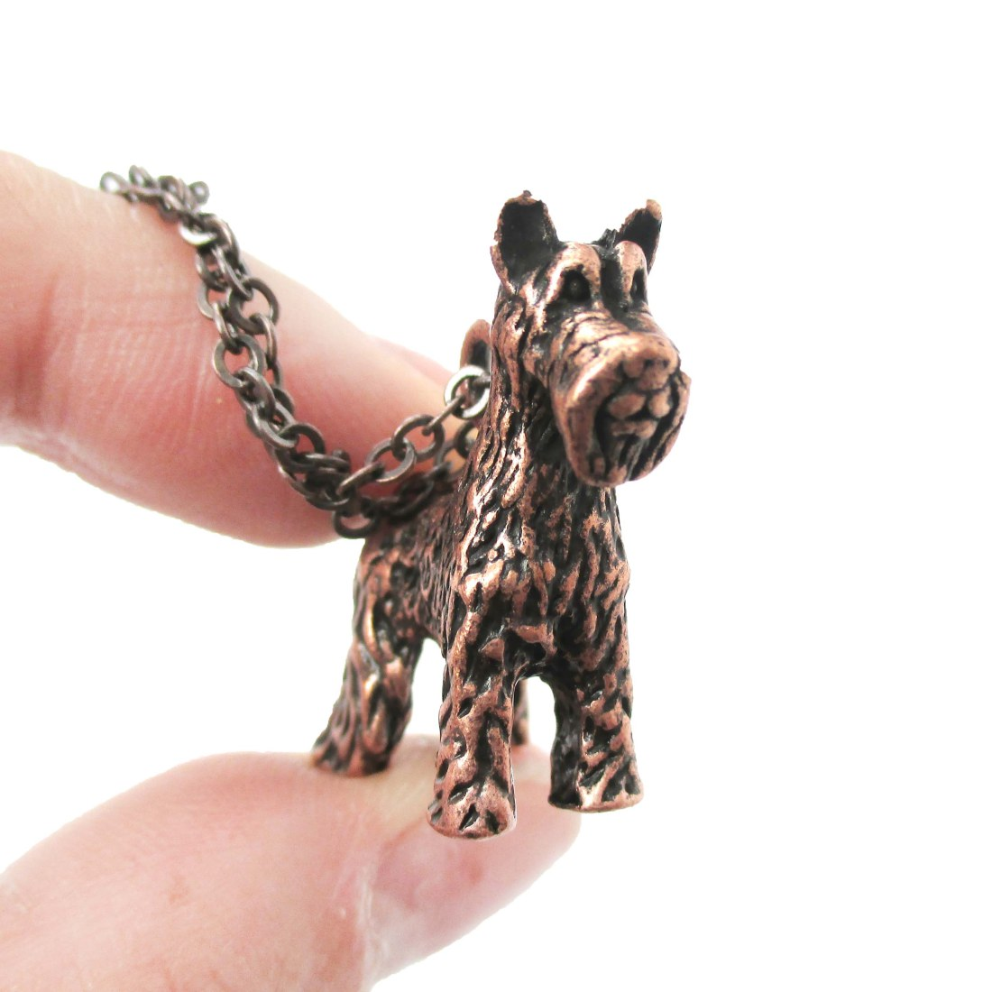 3D Detailed Schnauzer Shaped Dog Lover Animal Charm Necklace In Copper For Women