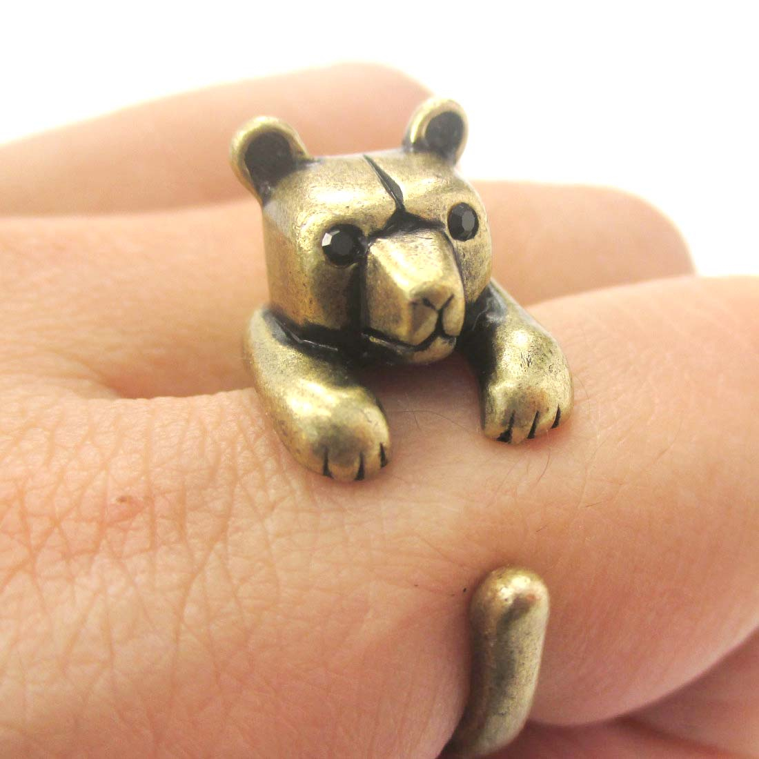 3D Miniature Polar Bear Teddy Animal Wrap Hug Ring In Bronze - Us Size 4 To 8.5