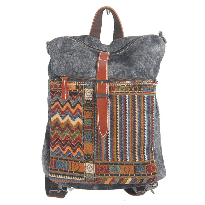 Folk Pattern Stripe Hasp Multifunction Shoulder Bag