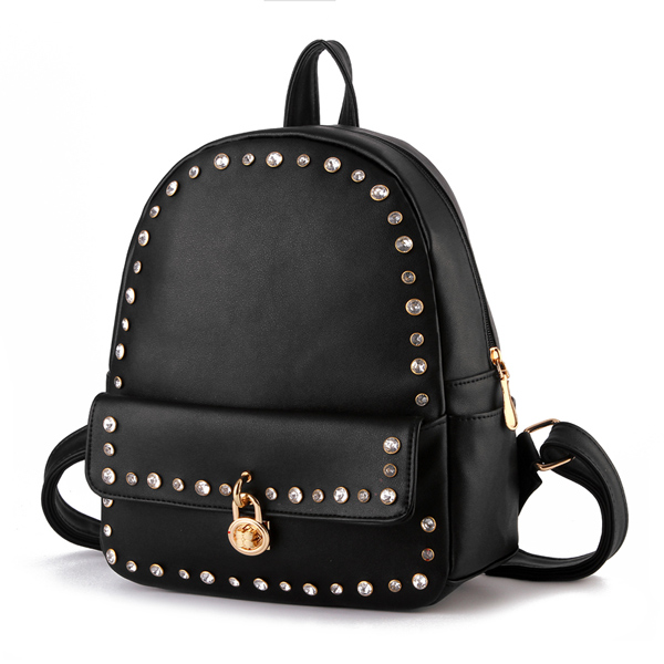 Rivet Lock Pu Travel School Backpack