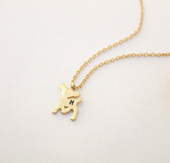 Personalized Initial Deer Necklace Initial Deer Necklace Initial Jewelry Tiny Bambi Necklace Bambi Deer