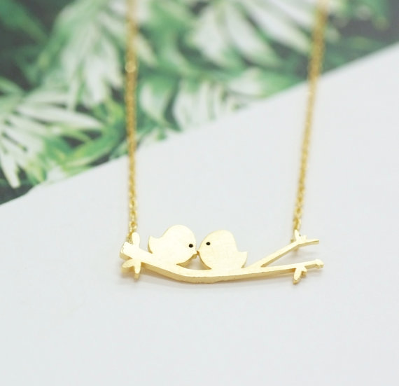 Two Birds On A Branch Necklace Two Love Birds Couple For Mom Girlfriend Giftskissing Love Birds
