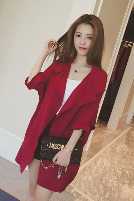 Fashion Loose Pure Color Lapels Coat 3066852