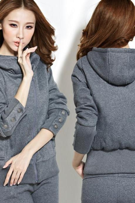 Fashion Pure Color Hooded Sweater Two-Piece 8003159