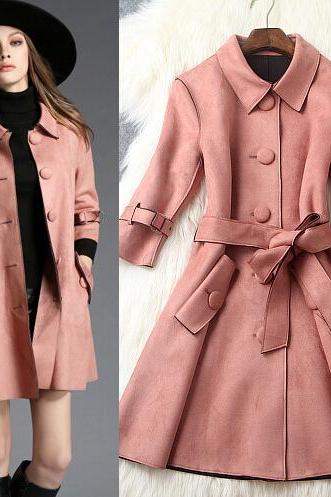 Fashion Single-Breasted Deerskin Coat 8706308