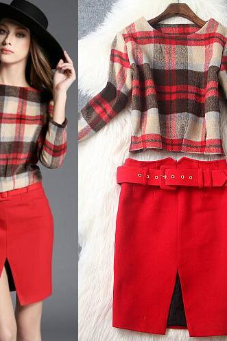Fashion Tartan Tops And Skirts Two-Piece 9106842