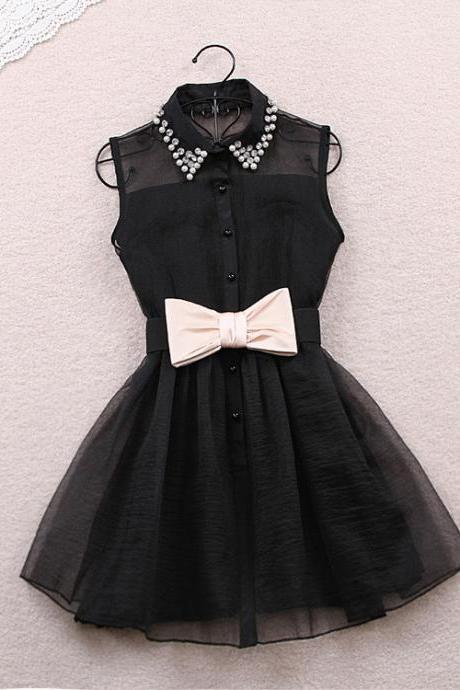 Bow Dress In Black White