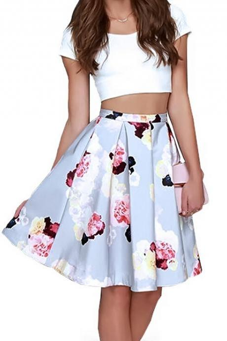 White Shirt Printed Skirt Two-Piece Suit 1570608